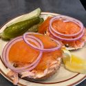Bagel with Hot Smoked Salmon